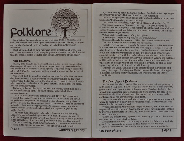 Blick in das Ultima V Manual - The Book of Lore