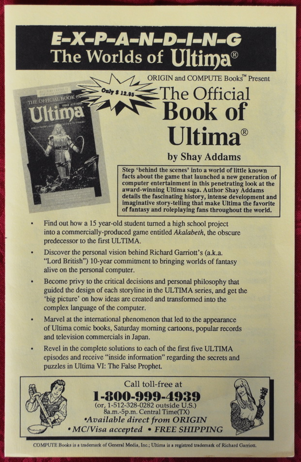 Hinweis auf The Offical Book of Ultima