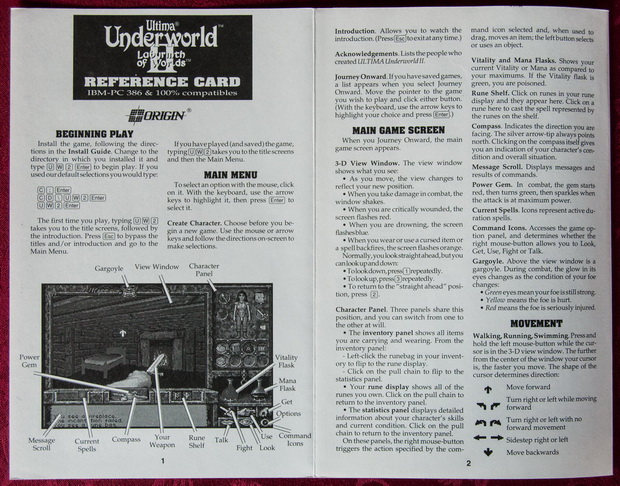 Ultima Underworld II Reference Card